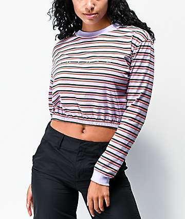 Ziggy Stripe Gathered Hem Purple Long Sleeve Crop T-Shirt