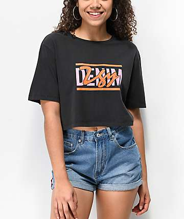 Ziggy Vintage Wash Black Crop T-Shirt