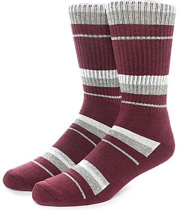 Zine 10 Feet Tall Burgundy & Off-White Crew Socks