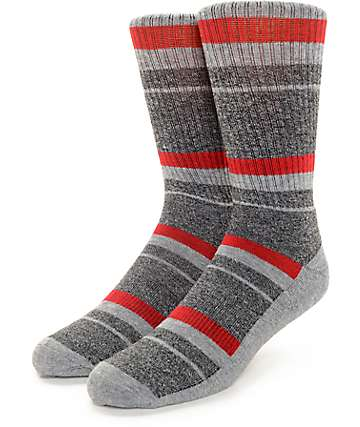 Zine 10 Feet Tall Grey & Red Crew Socks