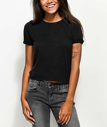 Zine Abena Black Crop T-Shirt