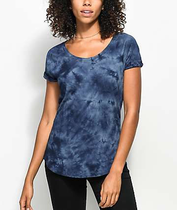 Zine Adriana Blue Tie Dye Pocket T-Shirt