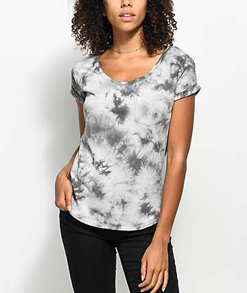 Zine Adriana Grey Tie Dye Pocket T-Shirt