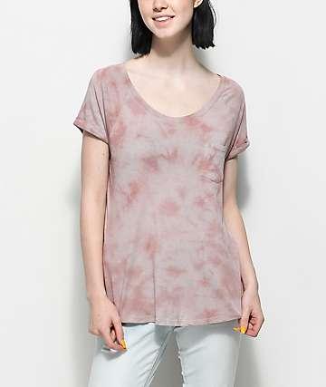 Zine Adriana camiseta en color malva con efecto tie dye y bolsillo