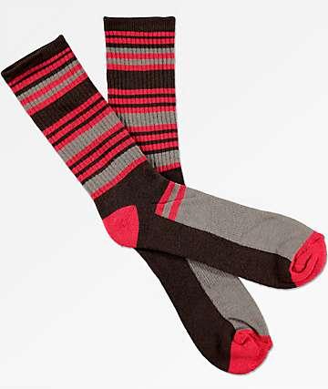 Zine Airbreak Brown & Red Crew Socks