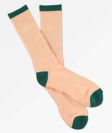 Zine Alpine Green & Peach Crew Socks