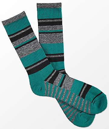 Zine Alright Teal & Grey Stripe Crew Socks