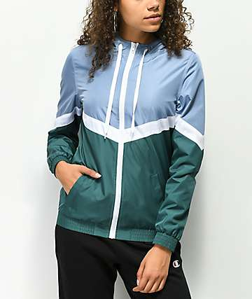 Zine Amara Blue, White & Green Windbreaker Jacket