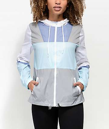 Zine Annora Blue & White Windbreaker Jacket