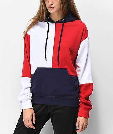 Zine Arlo Red, White & Blue Colorblock Hoodie