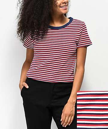 Zine Barnaby  camiseta corta de rayas rojas, blancas y azules