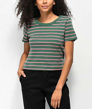 Zine Barnaby Green, White, & Red Stripe Crop T-Shirt