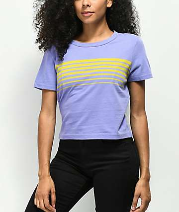 Zine Barnaby Stripe Purple Crop T-Shirt
