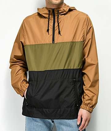 Zine Barry chaqueta cortavientos marrón, oliva y negra