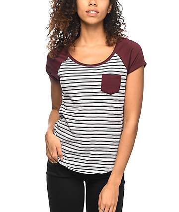 Zine Bartlett Striped Burgundy Raglan T-Shirt