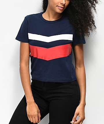 Zine Bassandra camiseta corta roja, blanca y azul