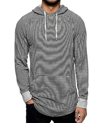 Zine Blank Slate Grey & Black Stripe Long Sleeve Hooded T-Shirt