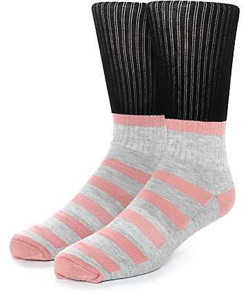 Zine Blast Black, Heather Grey & Peach Crew Socks