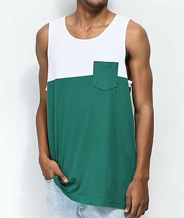Zine Blocked Green & White Pocket Tank Top