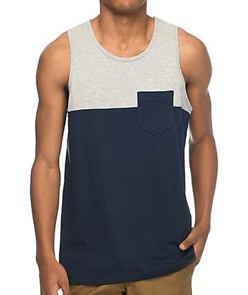Zine Blocked camiseta sin mangas en gris y azul marino