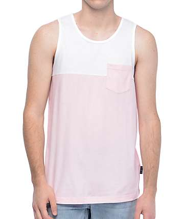 Zine Blocked camiseta sin mangas en rosa y blanco