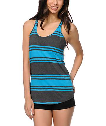 Zine Blue & Grey Stripe Tank Top
