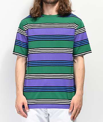 Zine Bonus Purple, Green & Black Striped T-Shirt