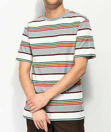 Zine Bonus Stripe Grey, Cream & Multi T-Shirt