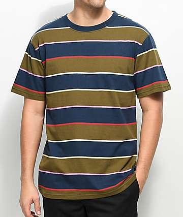 Zine Bonus camiseta a rayas en azul marino y verde