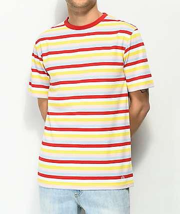 Zine Bonus camiseta con rayas rojas, blancas, amarillas, y azules