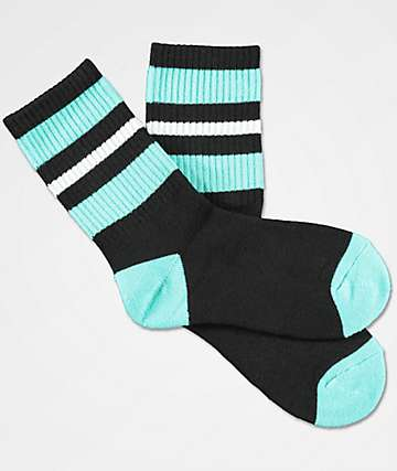 Zine Boys Mania Black & Mint Crew Socks