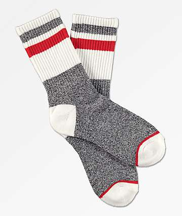 Zine Boys Ultimate White & Red Crew Sock