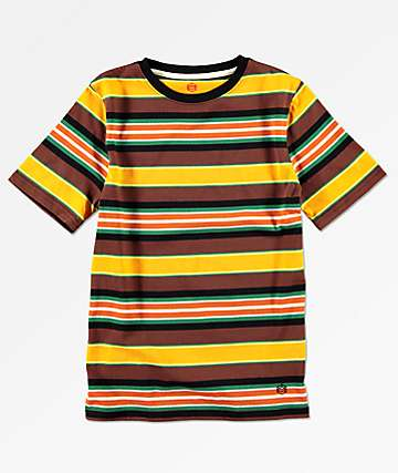 Zine Boys Yellow & Brown Stripe T-Shirt