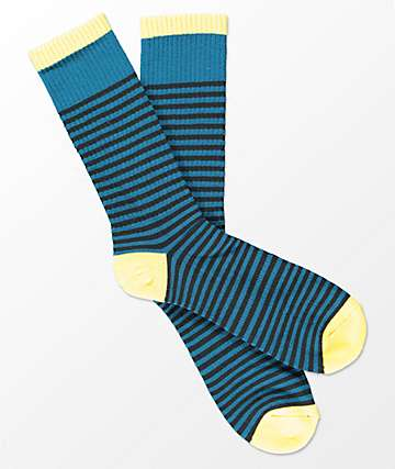 Zine Breakdown Blue & Lemon Crew Socks