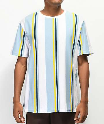 Zine Breaker Blue, Yellow & White Vertical Striped T-Shirt
