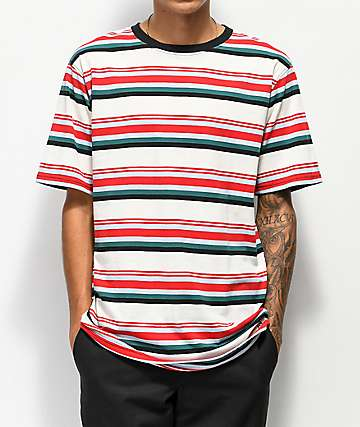 Zine Breaker Red, Blue & White Striped T-Shirt
