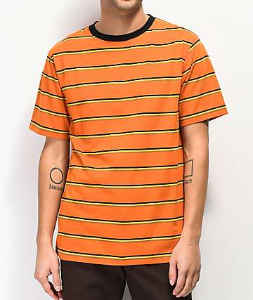 Zine Breaker Stripe Orange, Yellow & Black T-Shirt