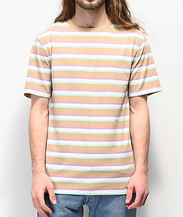 Zine Breaker Tan, Green & White Striped T-Shirt