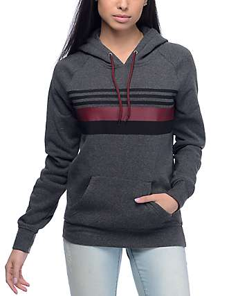 Zine Bryand Charcoal, Burgundy & Black Striped Hoodie