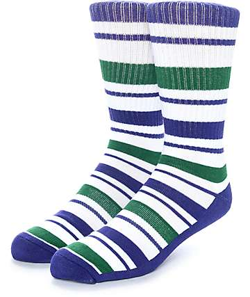 Zine Capsize White, Purple & Green Crew Socks