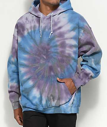 Zine Castle Blue & Purple Tie Dye Pullover Hoodie