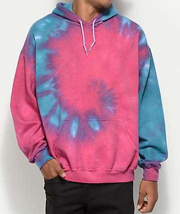 Zine Castle Fuchsia & Teal Tie Dye Pullover Hoodie