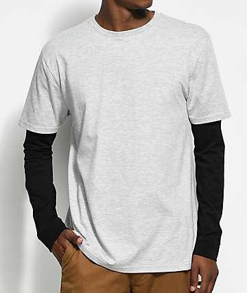Zine Chilled camiseta manga larga en gris y negro