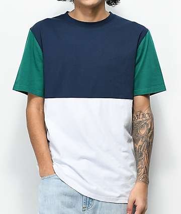 Zine Choice Block Navy, Green & White T-Shirt
