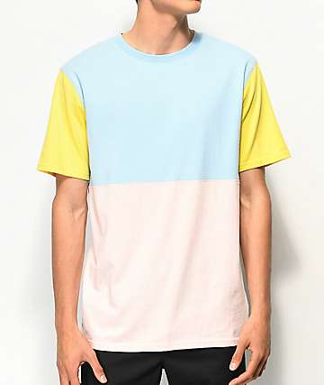 Zine Choice Colorblocked Pink, Blue & Yellow T-Shirt