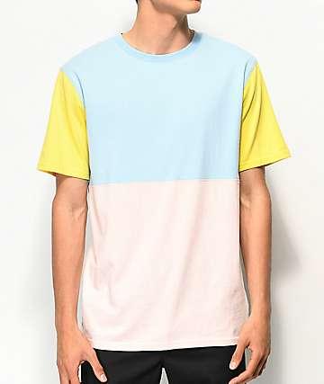 Zine Choice Colorblocked Pink, Blue & Yellow T-Shirt