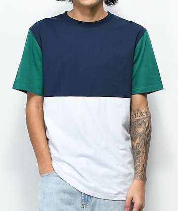 Zine Choice camiseta azul marino, verde y blanco