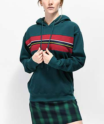 Zine Clouis sudadera  con capucha verde y roja