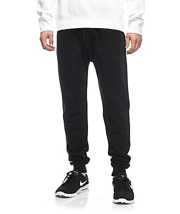 a6eedb0ec7b711 Zine Cover Black Solid Knit Jogger Pants