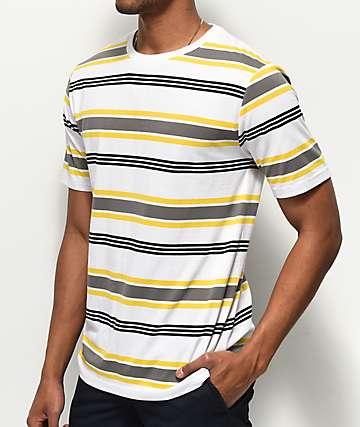 Zine Daze White, Yellow & Black Striped T-Shirt